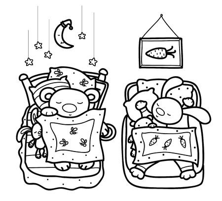 zanahoria caricatura: Vector dormir animales lindos, oso y conejo, siluetas negras, aislados en blanco. Vectores