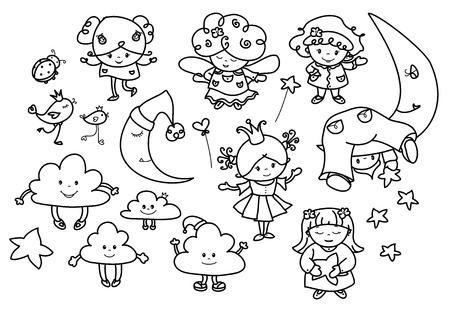 luna caricatura: Conjunto de vectores �ngeles lindos dibujos animados, siluetas negras.