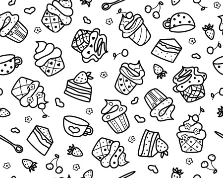 Vector sweet cupcakes pattern, black silhouette isolated.