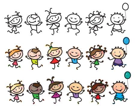 Vector fun, dancing multi-ethnic kids cartoons isolated. Vector