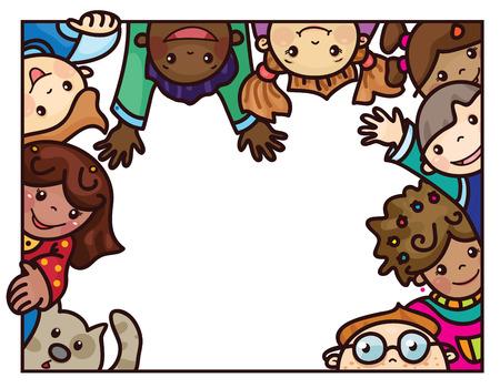 multiethnic: Vector fun,  multi-ethnic kids cartoons  frame. Illustration