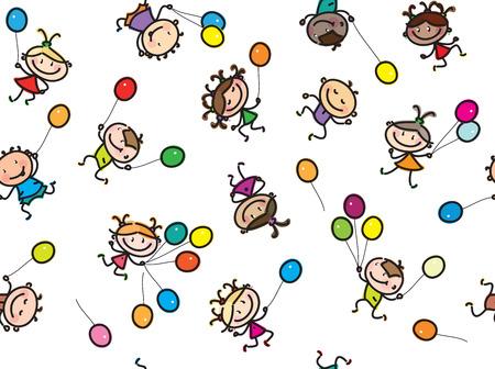 multiethnic: Vector  multi-ethnic kids with balloons, seamless pattern, isolated on white. Illustration