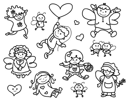 angel girl: Vector set cute angels cartoons, black silhouettes. Illustration