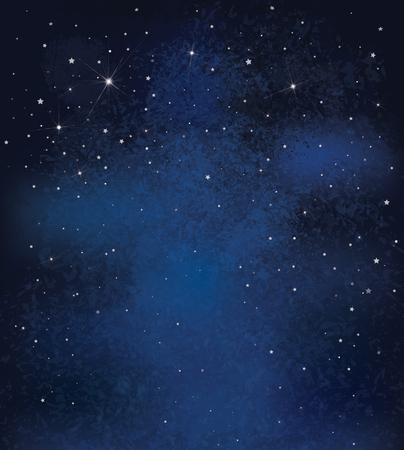 estrella: Vector de la noche el cielo estrellado de fondo.