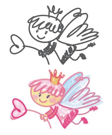 ベクトルのかわいい天使漫画。  イラスト・ベクター素材