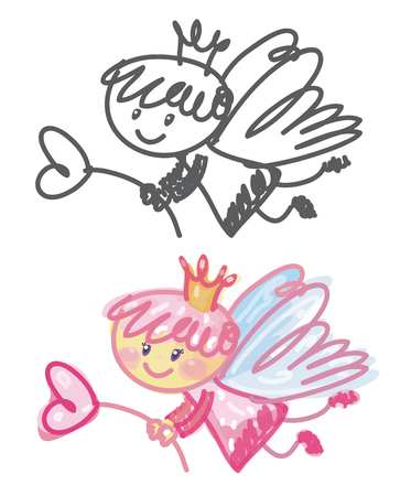 heart with crown: Vector cute angel cartoon. Illustration