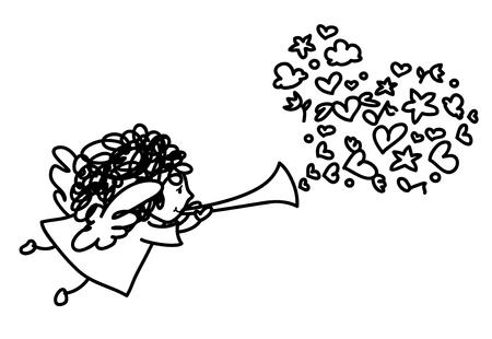 black girl: Vector cute Engel Cartoon. Illustration