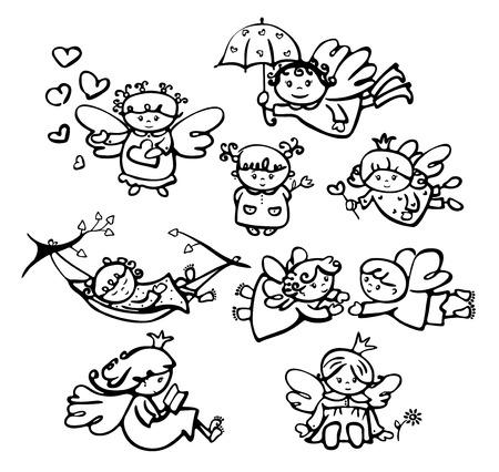 angeles bebe: Vector ángeles lindos dibujos animados siluetas. Vectores