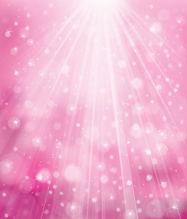 sparkle pink background with rays, lights and stars.