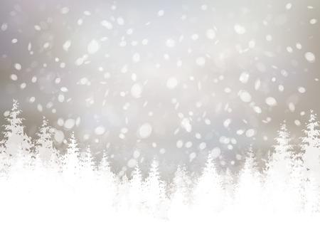 invierno: escena de invierno con las nevadas y el fondo del bosque.