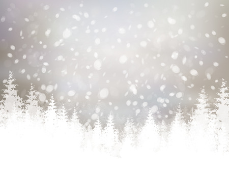 silver background: winter scene with snowfall and forest background.