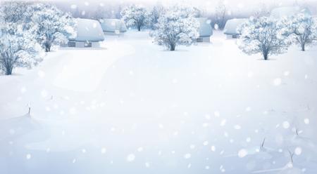 paisaje de invierno con las casas en el bosque.