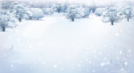 snow field: winter landscape with houses in forest.