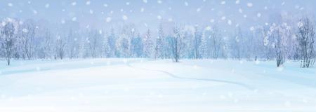 paisaje de invierno con el fondo del bosque. Ilustración de vector