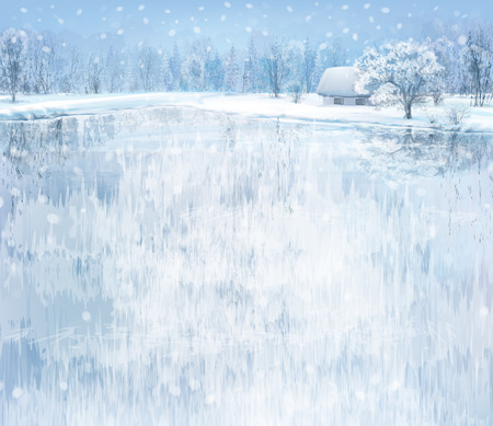 ice: winter landscape with house in forest. Illustration
