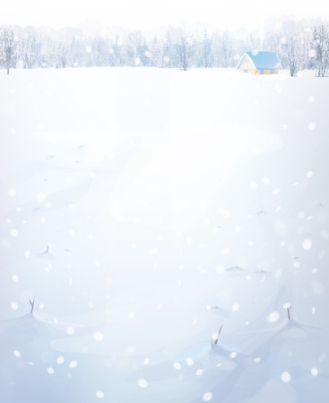 snow field: winter landscape with house in forest. Illustration