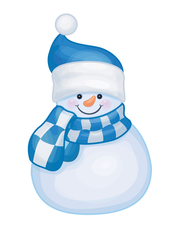 checkered scarf: cute snowman isolated.