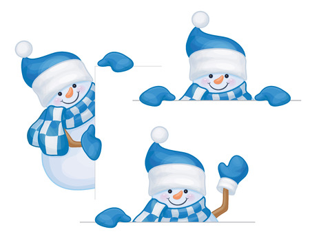 hiding: snowmen cartoons hiding by blank isolated.
