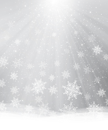 white winter: gray background with snowflakes, lights and stars.