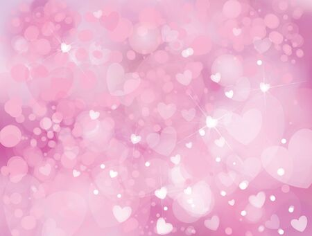 pink background: Vector sparkle, pink background with hearts, lights and stars. Illustration