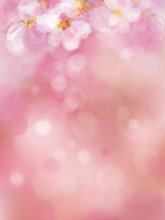 blur: Vector  pink, bokeh background, blossoming sakura tree. Illustration