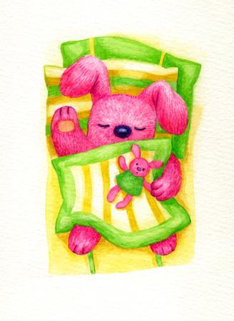baby sleep: Cute sleeping baby rabbit in bed, watercolor. Stock Photo