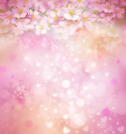 開花桜の木、花、春、ボケ背景。
