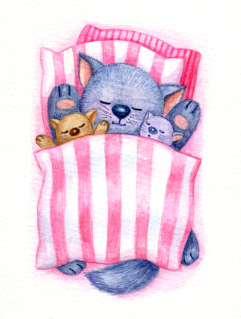 gray cat: Cute sleeping baby kitten in bed, watercolor.