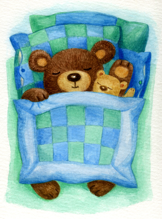 blanket: Cute sleeping baby bear in bed, watercolor.