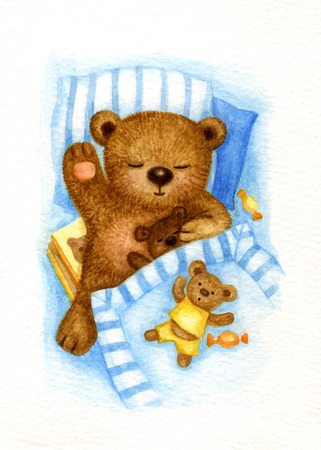 under the bed: Cute sleeping baby bear in bed, watercolor.