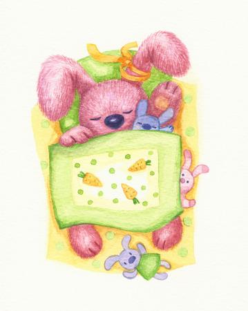 cartoon carrot: Cute sleeping baby rabbit in bed, watercolor. Stock Photo
