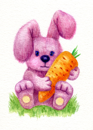 baby rabbit: Cute baby rabbit holding carrot, watercolor. Stock Photo