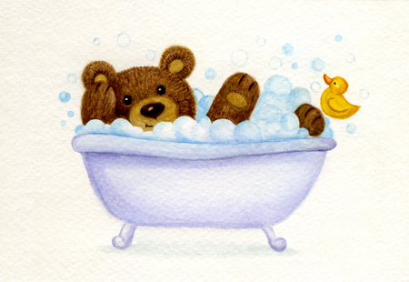 cartoon bathing: Bathing baby bear, watercolor. Stock Photo