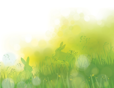 Vector rabbits in grass, spring nature background. Illustration