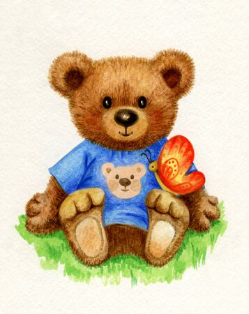 teddybear: Cute baby bear holding butterfly, watercolor.