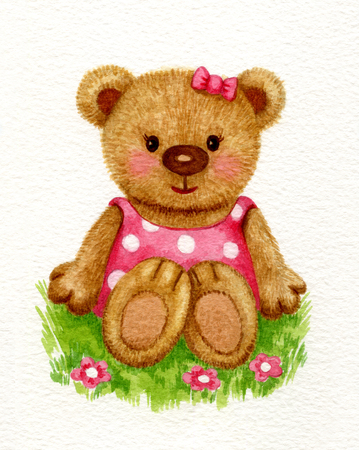 baby girl: Cute baby bear girl sitting on grass, watercolor.