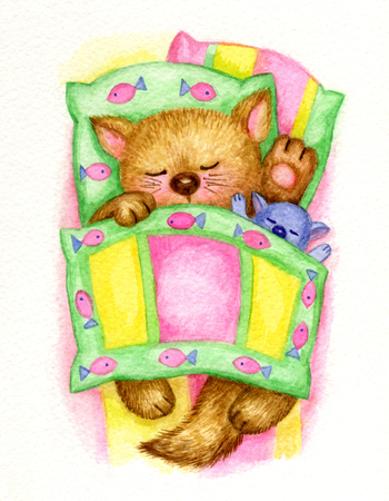 Cute sleeping baby kitten in bed, watercolor.