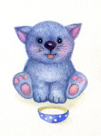 kitty: Cute kitten, watercolor.