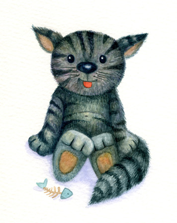 pet  animal: Cute kitten, watercolor.