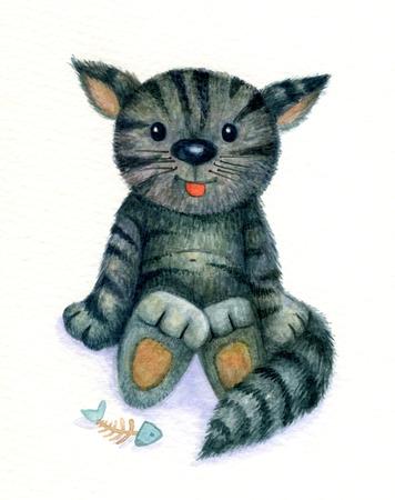 cartoon animal: Cute kitten, watercolor.
