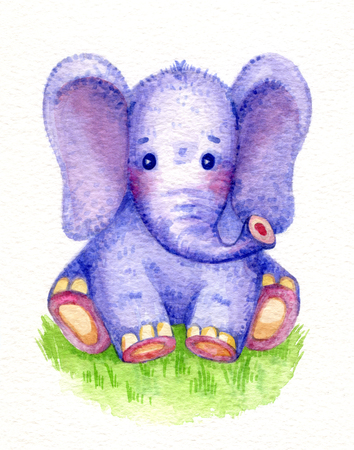 baby cute: Cute baby elephant sitting on grass, watercolor.