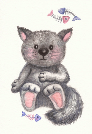gray cat: Cute kitten, watercolor.