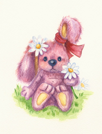 chamomiles: Cute baby rabbit with chamomiles, watercolor.