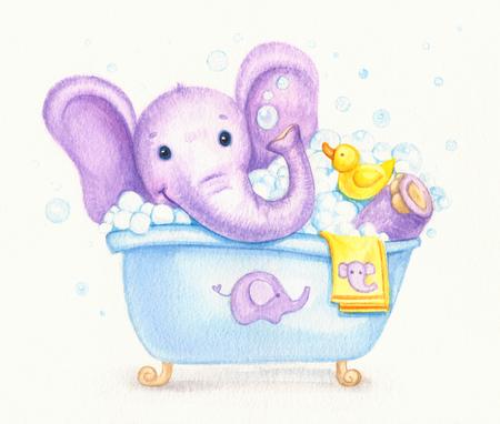 bathroom cartoon: Bathing baby elephant , watercolor. Stock Photo