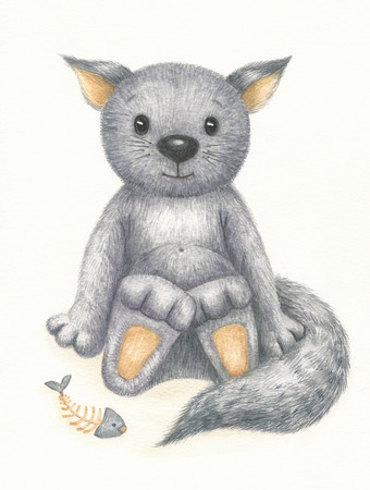 funny baby: Cute kitten, watercolor.