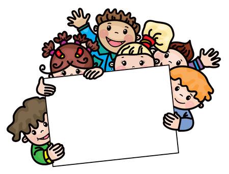 škola: šťastné děti karikatury rám.