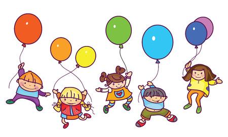 pelota caricatura: ni�os felices con globos. Vectores