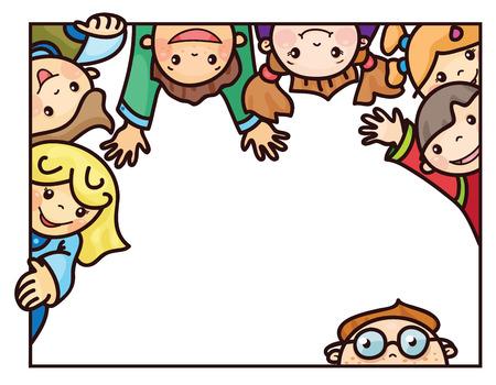 Bambini felici cartoni animati fotogramma.