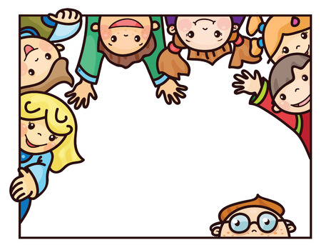 caras de emociones: Marco feliz de los ni�os de dibujos animados. Vectores
