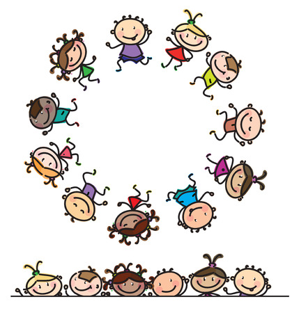 kinder spielen: Spaß, Tanzen multi-ethnischen Kinder Karikaturen isoliert.